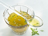 Olive oil vinaigrette with basil