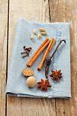 Star anise, nutmeg, vanilla pod, cinnamon sticks, cloves and cardamon pods