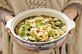 Minestrone ai tortellini (vegetable soup with tortellini, Italy)