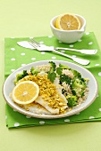 Steamed sole with wholegrain rice, broccoli and pistachios