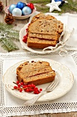 Ginger cake with walnuts and plum jam