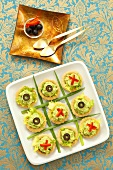 Tartlets with avocado puree