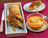 Savoy cabbage strudel with porcini mushrooms and a pumpkin and horseradish sauce