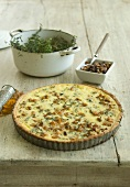 Truffled butternut squash quiche with a sweet pecan nut relish