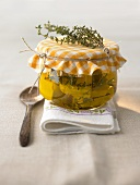 Pickled goat's cheese with herbs