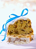 Christmas stollen, a slice cut