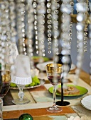 Laid table with wine and appetisers
