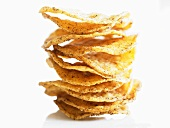 Spicy potato crisps, stacked