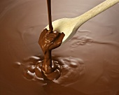 Melted chocolate with wooden spoon