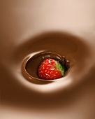 Strawberry in chocolate fondue