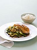 Salmon fillet with pak choi, enoki mushrooms and rice
