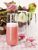 Rhubarb Bellini (sparkling wine cocktail) for Easter