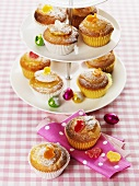 Lemon muffins on tiered stand (Easter)