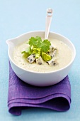 Cold celeriac and pear soup with blue cheese