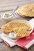 Cheese waffles with herb dip