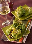 Cabbage leaves stuffed with red cabbage and chestnuts
