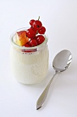 Natural yoghurt with peach and redcurrants