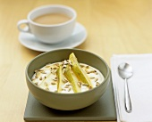 Pear with yoghurt and sunflower seeds