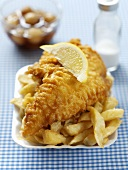 Fish and chips with a wedge of lemon