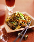 Stir-fried noodles, beef and vegetables