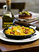 Paella, olives and olive oil (Spain)