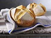 Sourdough bread on a linen cloth