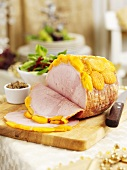 Roast ham with apricots