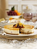 Cheesecake with dried fruits for Christmas dinner