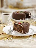 Fruit cake with a chocolate glaze for Christmas dinner