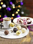 Various pralines and coffee for Christmas dinner
