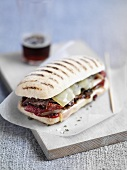Ciabatta with cheese and dried tomatoes
