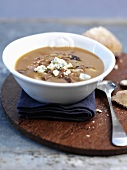 Oxtail soup with onion and Stilton
