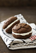 Chocolate Whoopie Pies, filled with vanilla cream cheese cream