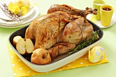 Roast turkey with apples for Easter