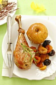 Roast turkey leg with dried fruits and apples for Easter
