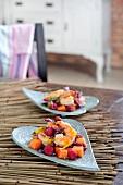 Papaya and raspberry salad with prawns
