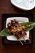 Grilled lamb chops with a peanut and mint sauce