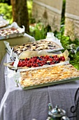 A cake buffet with tray bakes in a garden (detail)