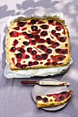 Blackberry and semolina tray bake cake