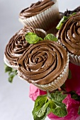A bouquet of chocolate cupcakes
