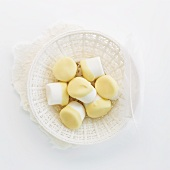Marshmallows dipped in white chocolate