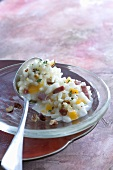 Risotto with pumpkin, bacon and nuts