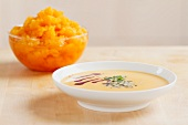 Cream of pumpkin soup and pureed pumpkin