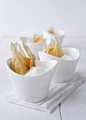 Yogurt cream with physalis decoration