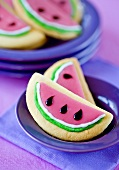 Cookies in the shape of watermelon slices