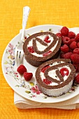 Chocolate rolls with Mascarpone cream and raspberries