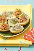 Stuffed potatoes with salmon salad and smoke mackerel paste