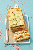 Vegetable terrine with potatoes, carrots and green beans