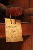 Bottle of Cabernet in a wine cellar museum (Kanonkop, Stellenbosch, Western Cape, SA)
