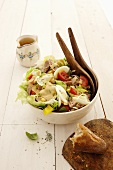 Vegetable salad with tuna and egg